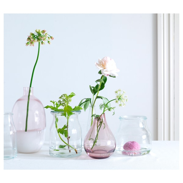 SANNOLIK vas merah jambu 17 cm