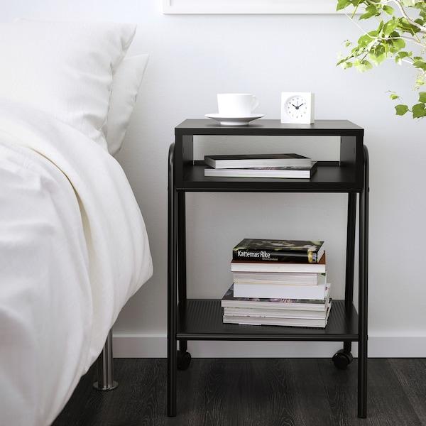 SETSKOG Meja sisi katil, hitam, 45x35 cm