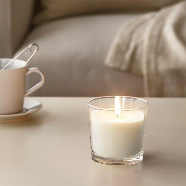 SINNLIG Lilin wangi dalam gelas, Vanila manis/semula jadi, 9 cm