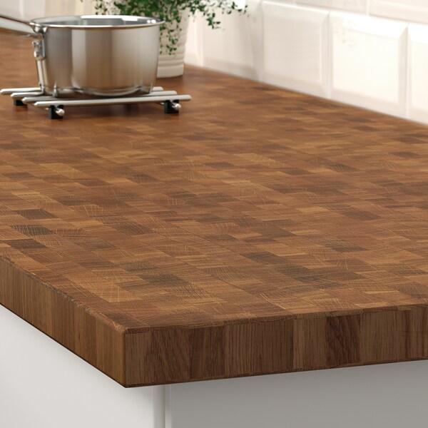 SKOGSÅ Permukaan kerja, kayu oak/venir, 186x3.8 cm