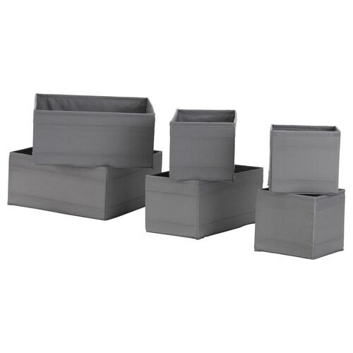 SKUBB kotak, set 6 unit kelabu gelap