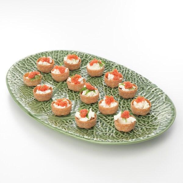 SMAKBIT Pinggan hidangan, hijau, 37x25 cm