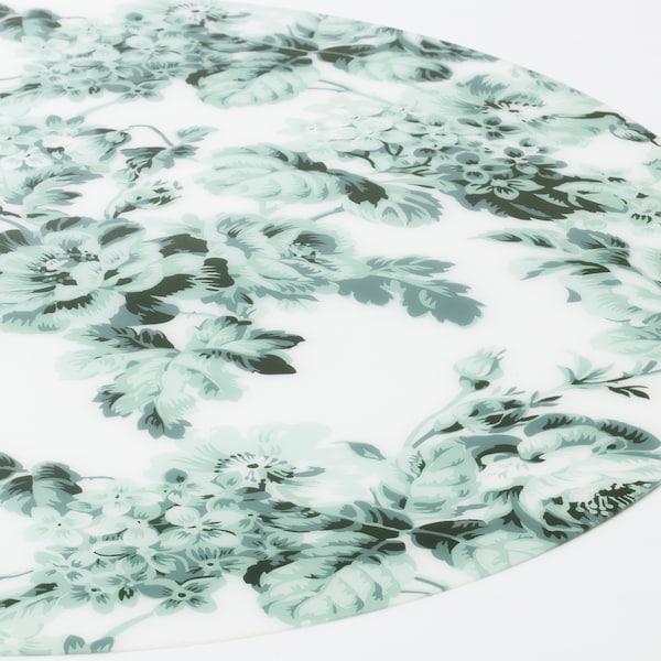 SMAKSINNE Alas pinggan, putih/hijau/bunga, 37 cm