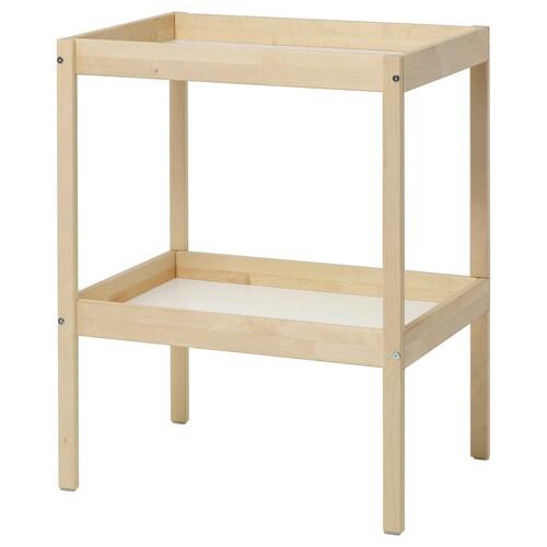 SNIGLAR meja tpt menukar lampin birch/putih 72 cm 53 cm 88 cm 11 kg