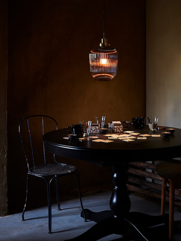 SOLKLINT Lampu pendan, loyang/kaca jernih kelabu, 22 cm