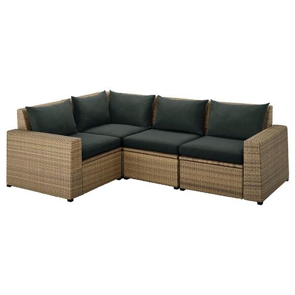 SOLLERÖN Sofa sudut modular, luar, coklat/Hållö hitam