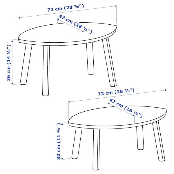STOCKHOLM set 2 rangkaian meja venir kayu walnut 72 cm 47 cm 36 cm