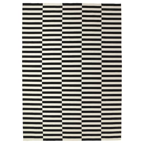 STOCKHOLM ambal, tenunan rata buatan tangan/berjalur hitam/putih pudar 350 cm 250 cm 4 mm 8.75 m² 1360 g/m²