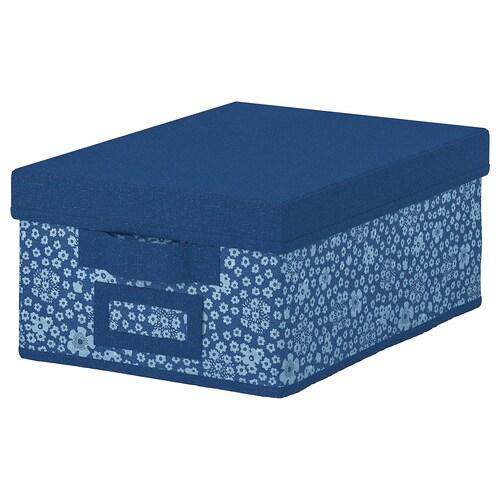 STORSTABBE kotak berpenutup biru/putih 25 cm 35 cm 15 cm