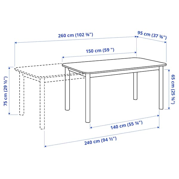 STRANDTORP Meja boleh dipanjangkan, coklat, 150/205/260x95 cm
