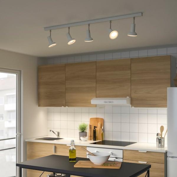 STRATOSFÄR Lampu sorot siling dgn 5 lampu, putih/berkrom