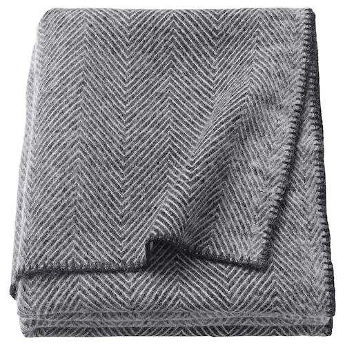 STRIMLÖNN selimut/alas kelabu 200 cm 150 cm