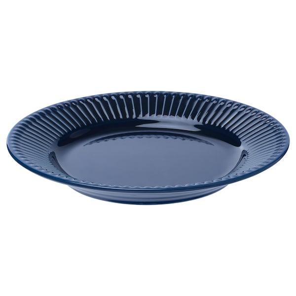 STRIMMIG Piring sisi, tembikar batu biru, 21 cm