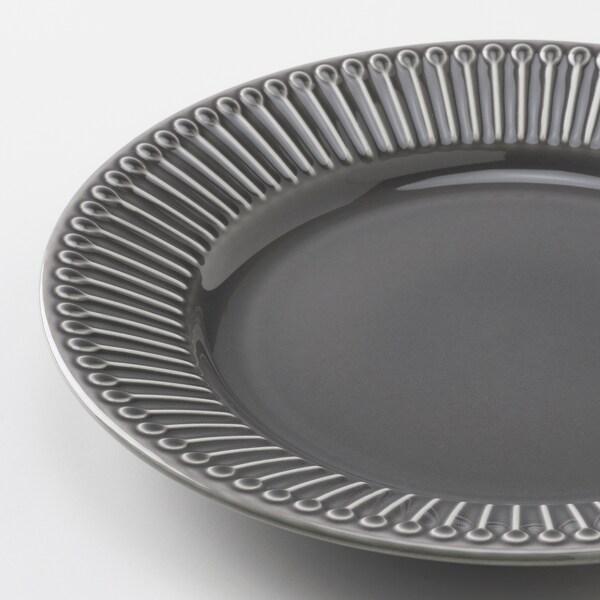 STRIMMIG Piring sisi, tembikar batu kelabu, 21 cm
