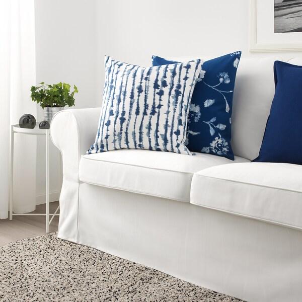 STRIMSPORRE Sarung kusyen, putih/biru, 50x50 cm