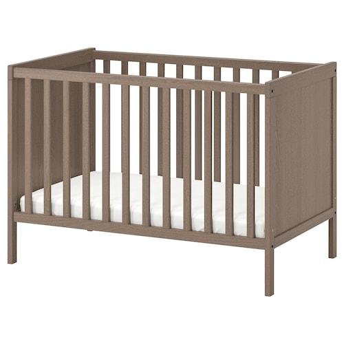 SUNDVIK katil bayi kelabu-coklat 125 cm 67 cm 86 cm 60 cm 120 cm 20 kg
