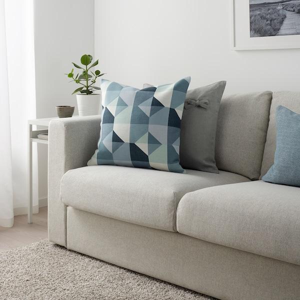 SVARTHÖ Sarung kusyen, hijau/biru, 50x50 cm