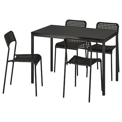 TÄRENDÖ / ADDE Meja dan 4 kerusi, hitam/hitam, 110x67 cm