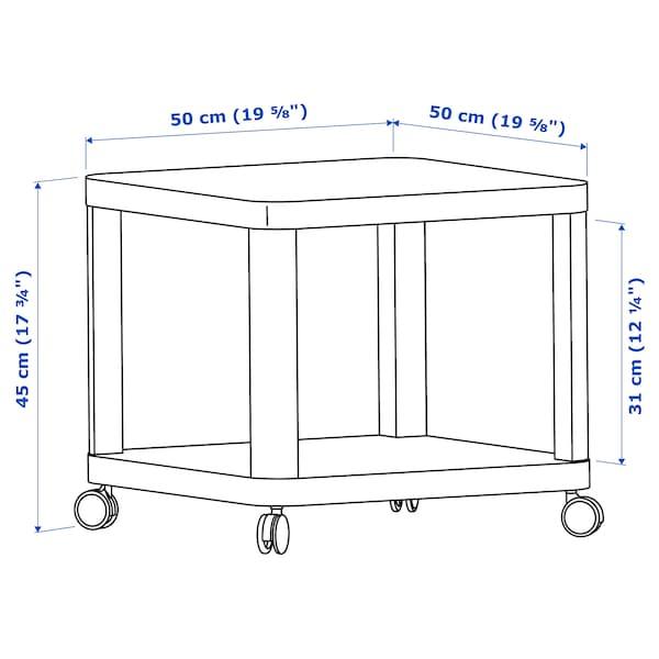 TINGBY Meja sisi beroda, putih, 50x50 cm