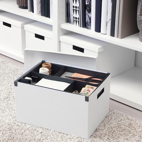 TJENA Kotak storan berpenutup, putih, 25x35x20 cm