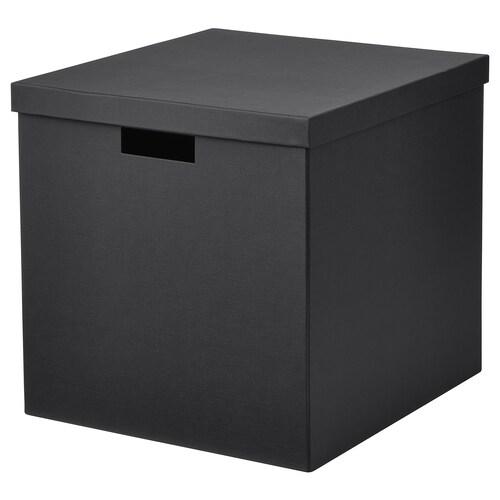 TJENA kotak storan berpenutup hitam 35 cm 32 cm 32 cm