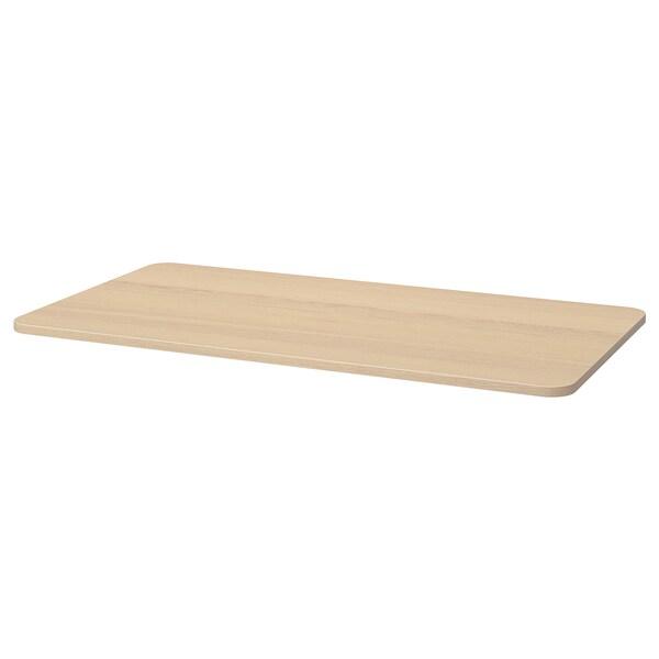 TOMMARYD Bahagian atas meja, Venir kayu oak berwarna putih, 130x70 cm