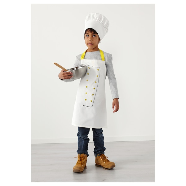 TOPPKLOCKA Apron kanak-kanak dengan topi cef, putih/kuning