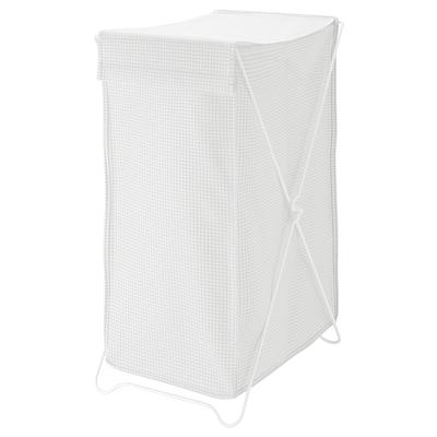 TORKIS Bakul kain kotor, putih/kelabu, 90 l