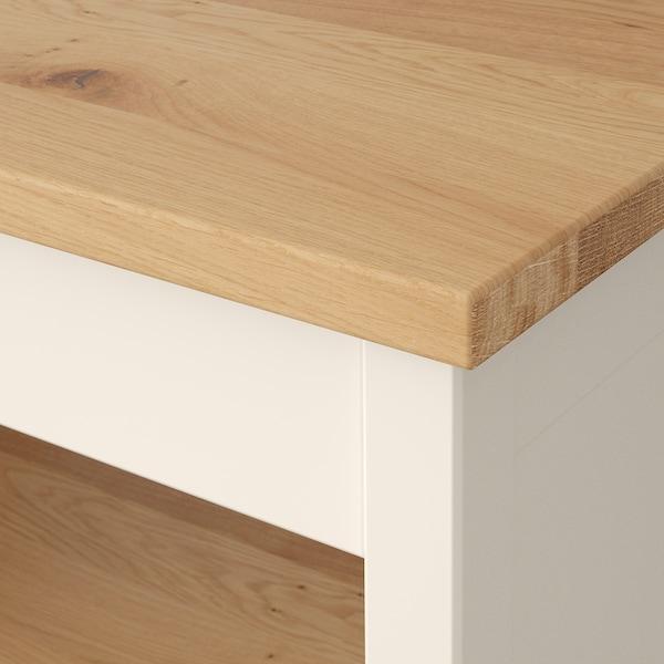 TORNVIKEN Pulau dapur, putih pudar/kayu oak, 72x52 cm
