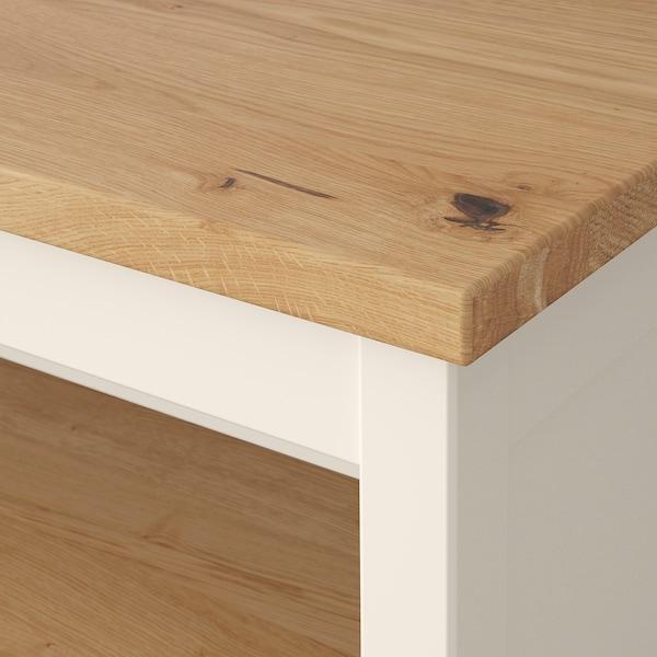 TORNVIKEN Pulau dapur, putih pudar/kayu oak, 126x77 cm