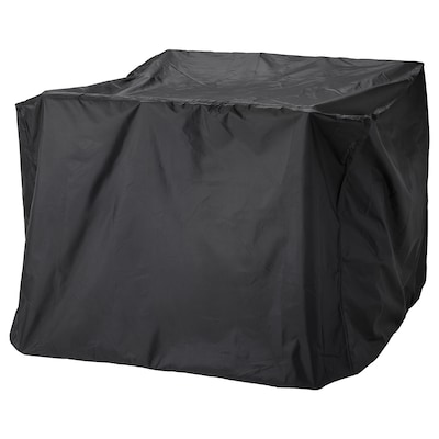 TOSTERÖ Sarung penutup set perabot, set makan malam/hitam, 145x145 cm