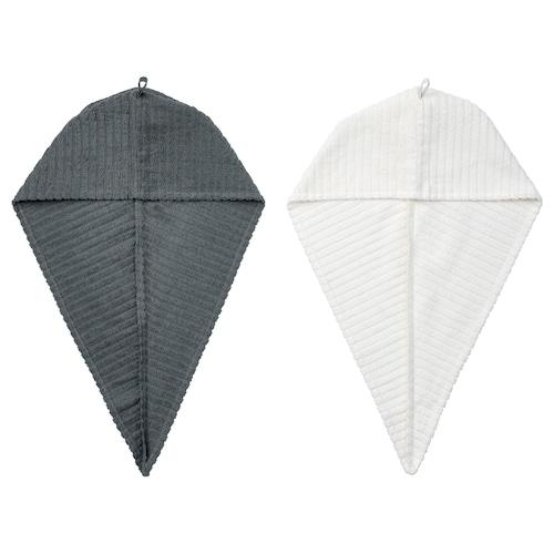 TRÄTTEN tuala selubung rambut kelabu gelap/putih 720 mm 265 mm 2 unit