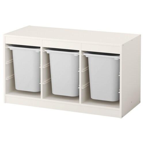 TROFAST kombinasi penyimpan dgn kotak putih/putih 99 cm 44 cm 56 cm