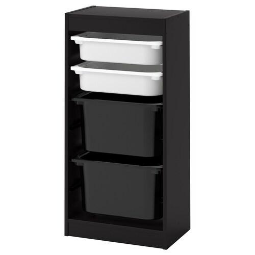TROFAST kombinasi penyimpan dgn kotak hitam/putih hitam 46 cm 30 cm 95 cm