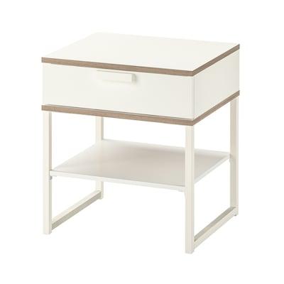 TRYSIL Meja sisi katil, putih/kelabu muda, 45x40 cm