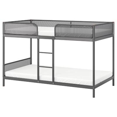 TUFFING Rangka katil 2 tingkat, kelabu gelap, 90x200 cm