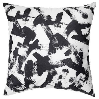 TURILL Kusyen, putih/hitam, 40x40 cm