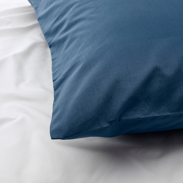 ULLVIDE Sarung bantal, biru gelap, 50x80 cm