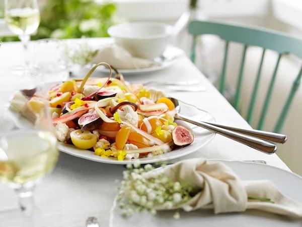 UPPLAGA Pinggan hidangan, putih, 44x30 cm