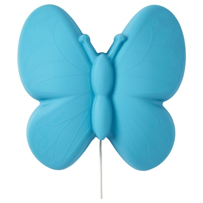 UPPLYST Lampu dinding LED, kupu-kupu biru muda