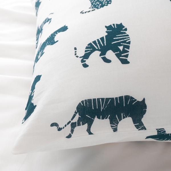 URSKOG Sarung kuilt dan sarung bantal, harimau/biru, 150x200/50x80 cm