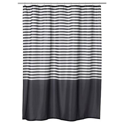 VADSJÖN Tirai bilik mandi, kelabu gelap, 180x200 cm