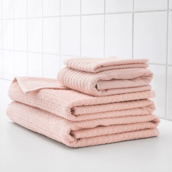 VÅGSJÖN Tuala mandi, merah jambu pucat, 70x140 cm
