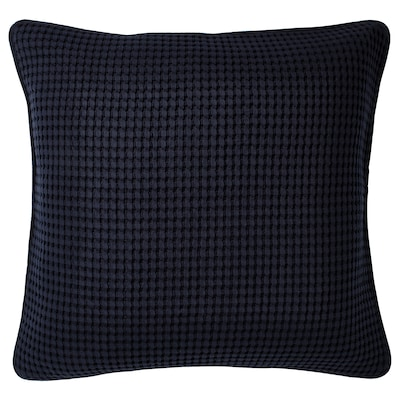 VÅRELD Sarung kusyen, hitam biru, 50x50 cm