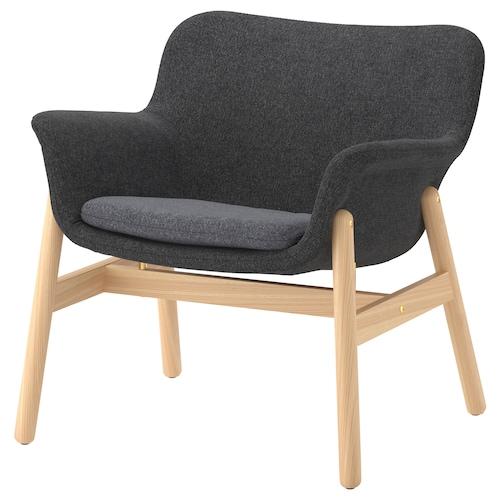 VEDBO kerusi berlengan Gunnared kelabu gelap 75 cm 73 cm 65 cm 24 cm 20 cm 45 cm 48 cm 44 cm
