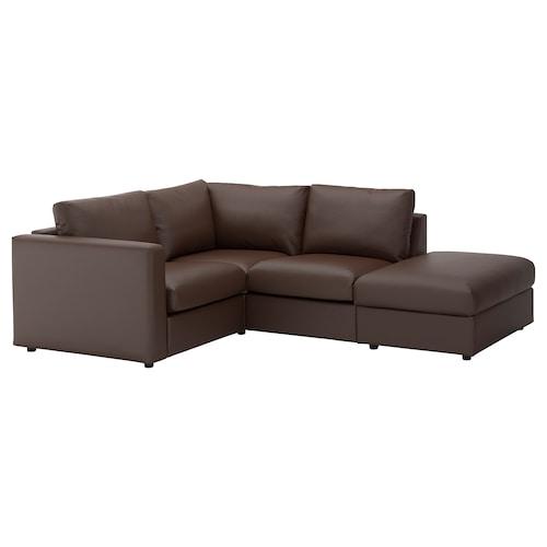 VIMLE sofa penjuru 3 tempat duduk dengan hujung terbuka/Farsta coklat gelap 80 cm 98 cm 235 cm 195 cm 122 cm 179 cm 4 cm 15 cm 65 cm 55 cm 45 cm