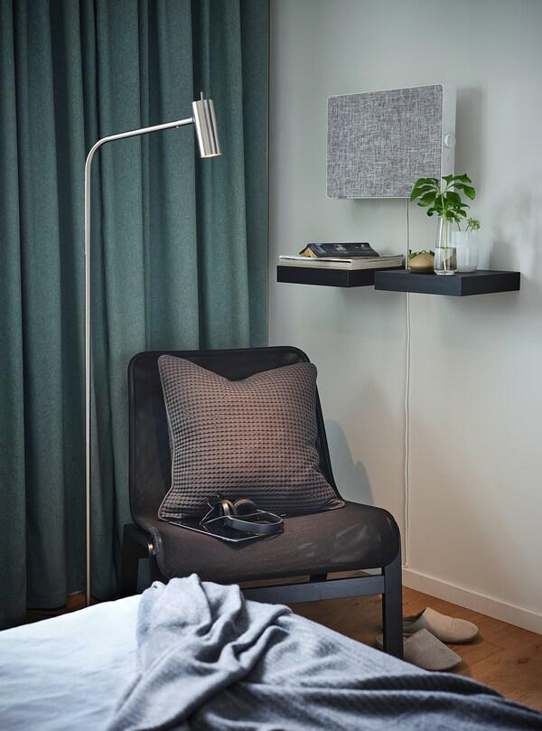 VIRRMO Lampu lantai/bacaan, bersadur nikel, 145 cm