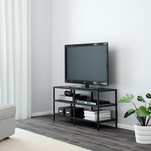 VITTSJÖ Rak TV, hitam coklat/kaca, 100x36x53 cm