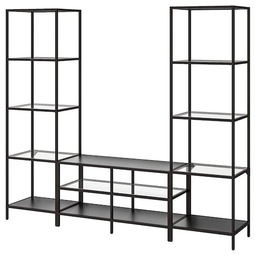 VITTSJÖ kombinasi storan TV hitam coklat/kaca 202 cm 36 cm 175 cm