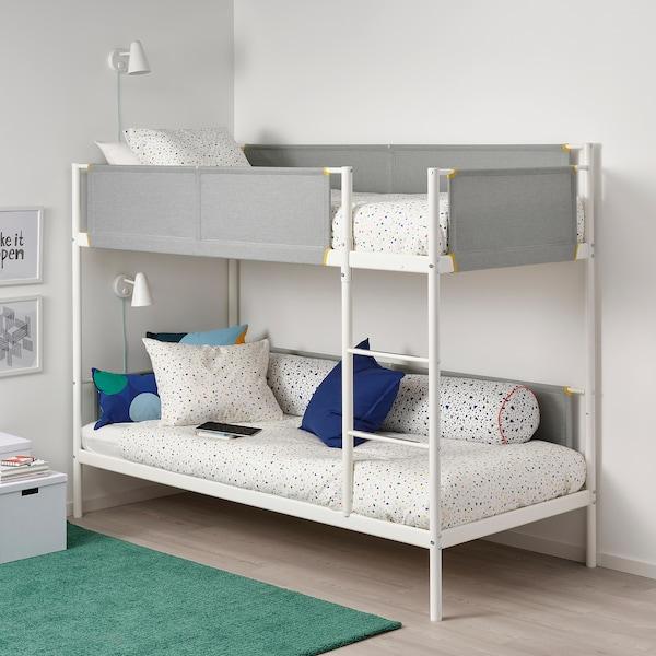 VITVAL Rangka katil 2 tingkat, putih/kelabu muda, 90x200 cm